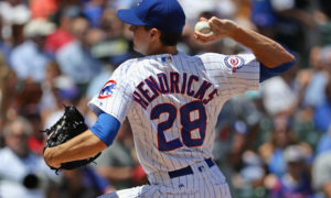 CHICAGO, IL - JUNE 02:  Starting pitcher Kyle Hendricks #28 of the Chicago Cubs delivers the ball against the Los Angeles Dodgers at Wrigley Field on June 2, 2016 in Chicago, Illinois.  (Photo by Jonathan Daniel/Getty Images)