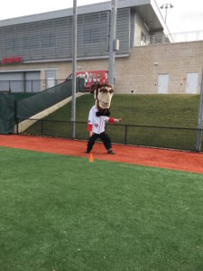 Abe prepares for the '40' yard dash